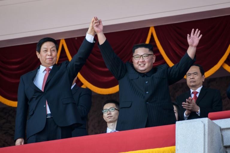 North Korean leader Kim Jong Un stood next to Chinese politburo member Li Zhanshu