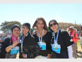 Mymoena Raffie,  Anissah Mahomed, Leyya Saduila and Shanaaz Raffie receive medals for the 8km walk.