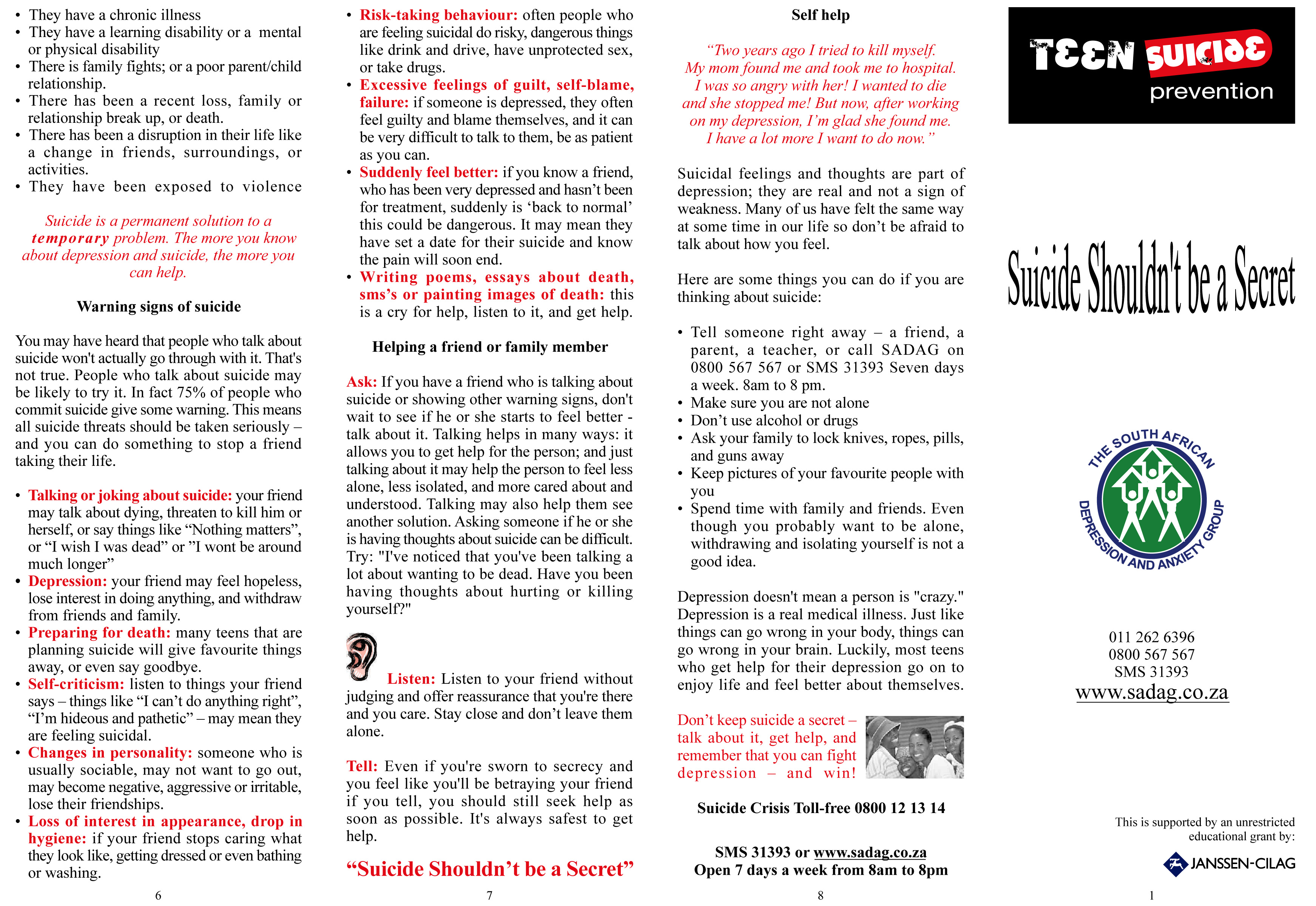 SHANICE34sad -Teen  suicide brochure from SADAG
