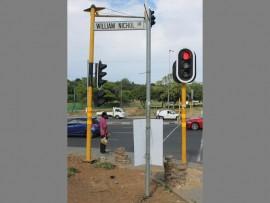 Traffic lights on William Nicol Drive.