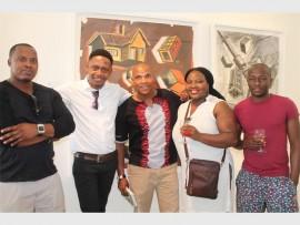 Leshoka Joe Legate, artist Senzo Shabangu, Khehla Chepape Makgato, Tshepiso Onkgopotse Tshabalala and Naniso Tswai at David Krut Projects for the exhibition.