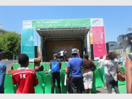 City alive... Residents enjoy a performance from singer, Toya Delazy, at the launch of the ecomobility festival. The city of Johannesburg will host a Freedom Ride and Family Day event this coming weekend in Sandton.
