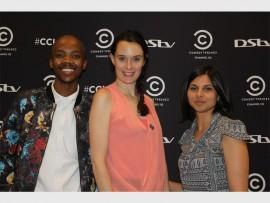Baxolise Mfidi, Andrea Aley and Yasmien Winkler at Cinema Nouveau in Rosebank Mall.