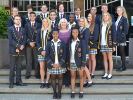 The new DSJ prefects with teacher, Marian Wilkins.