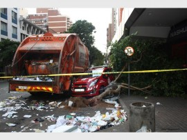 Damage caused on a Braamfontein street by a driverless truck.
