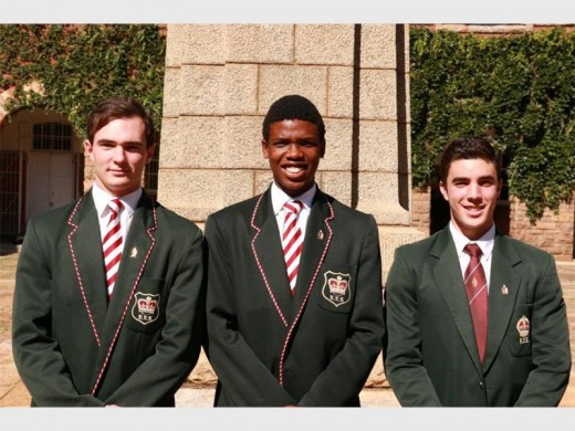 The new King Edward VII School leaders for 2016; deputy head prefect Calvin Johnson, head prefect Nkosinathi Chibi and second deputy head prefect, Byron Christou.