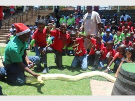 FASCINATED: The children enjoy a fun-filled day surrounded by colourful birds, mammals, reptiles and extraordinary animals from around the world.