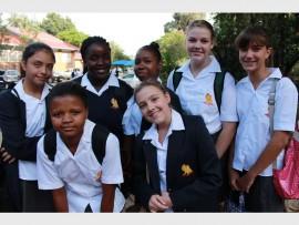 First day... Some of the new Hyde Park High Grade 8s. Back row: Marike de Klerk, Shaleen Ndhlovu, Itumeleng Gadise, Andrea Bothma and Carmen Crane. Front row: Nonhlanhla Manaka and Katelyn Denoon