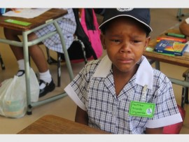 Tears… Amanda Ginyizembe is not too happy on her first day at school on 13 January.