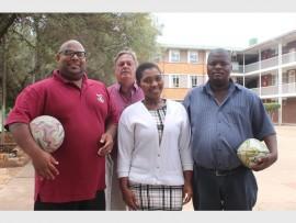 Mujahid Padayachy, director of sports of Greenside High School, with Gregory Gunning, deputy principal of GHS with sports co-ordinators Bongiwe Nhleko and Jacob Ngwenya.