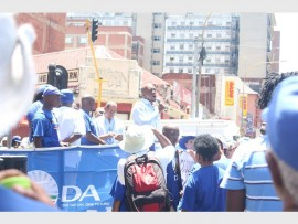 EXCITEMENT: DA leader Mmusi Maimane addresses the DA supporters in attendance at the rally against unemployment.