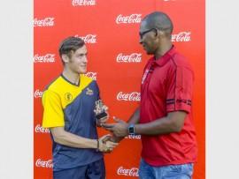 Mitchell van Buuren receives hero of the day and man of the match awards at the 2016 Coca-Cola Khaya Majola Cricket Week.