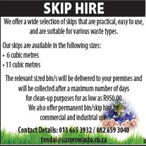 SA Zero Waste  Tel: 013 665 3932