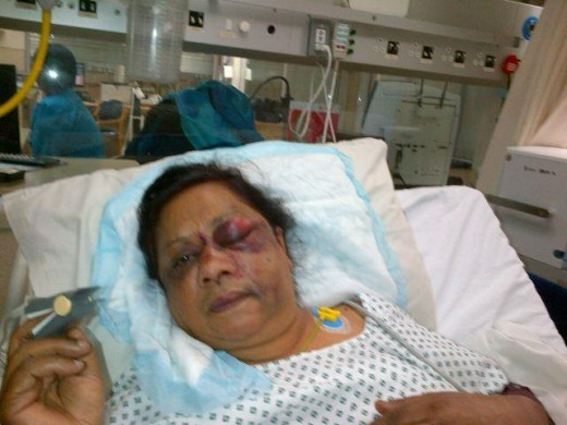 Indra Francis claims that she was brutally assaulted by Swami Nrsimha (left) in December last year.