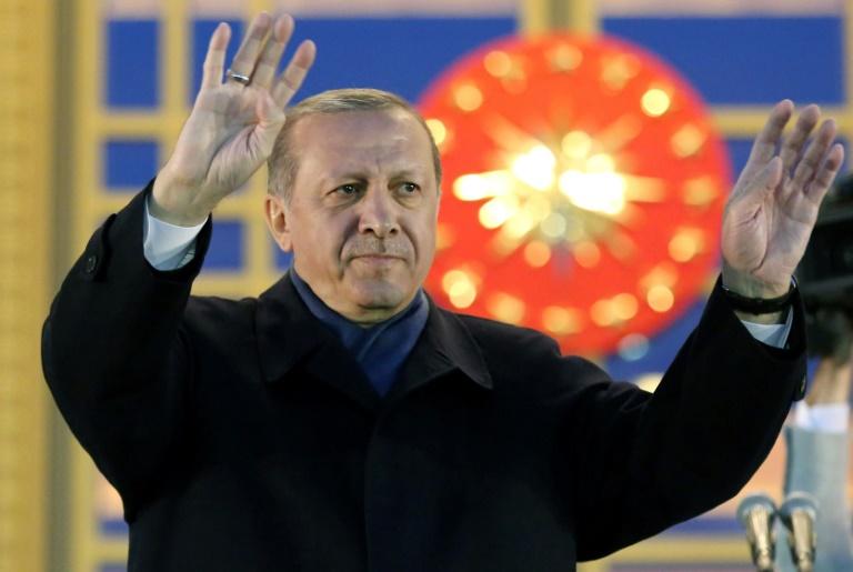 Turkey's President Recep Tayyip Erdogan acknowledges supporters in Ankara on April 17, 2017 | © AFP/File | ADEM ALTAN