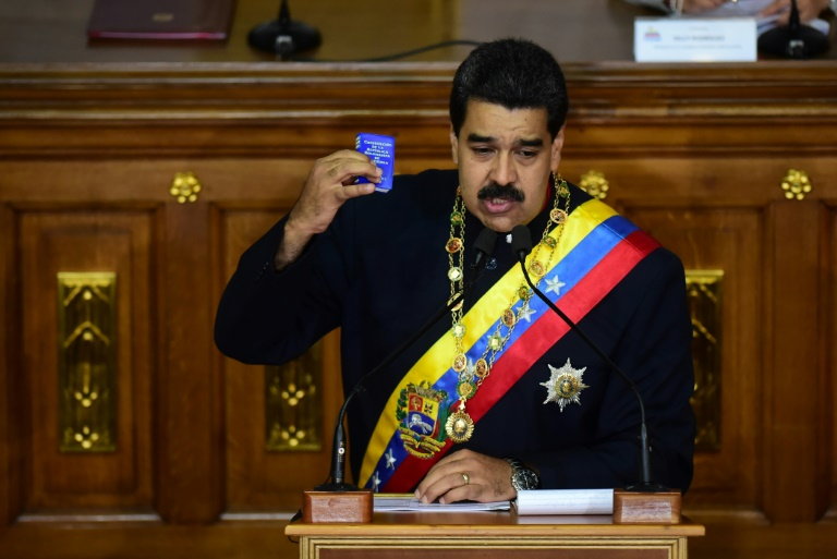 Venezuelan President Nicolas Maduro addresses the all-powerful pro-Maduro assembly which has been placed over the National Assembly and tasked with rewriting the constitution, in Caracas on August 10, 2017 | © AFP/File | RONALDO SCHEMIDT