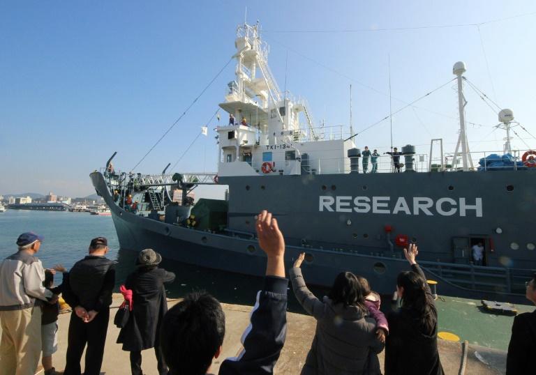 A Japanese whaling ship leaves the port of Shimonoseki in December 2015 | © JIJI PRESS/AFP/File | JIJI PRESS