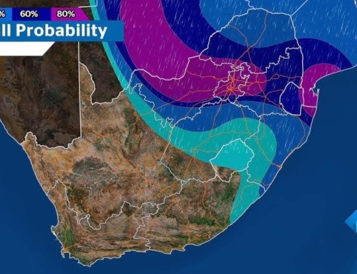 Vandag se weervoorspelling. Foto: Reënval SA Facebook