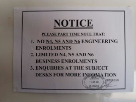 The sign which greeted some potential part time students at Wescol's Carletonville campus on Monday.