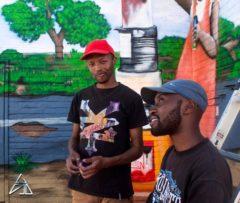 The graffitti gurus from the left: Jakes Mbele and Bongz Mahlathi
