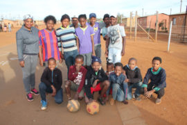 Members of the soccer team ready for action on Monday afternoon.