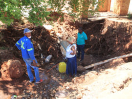 The new sinkhole caved in at the site where sewage was leaking for months.