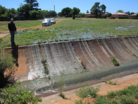 Sewage streaming into the green belt canal. From here, it flows to the Wonderfonteinspruit that flows into the Mooi River to supply Potchefstroom's drinking water.