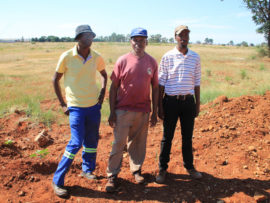 Messrs Doctor Tselanyane, Phineas Mvundle and Joseph Monyake are concerned about the negligible amount of work that has been done on the site.