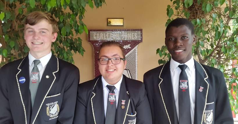 Carleton Jones High School's top achievers are Cal Tiquin, Kevin Aguiar Pereira and Tumisang Masilo.