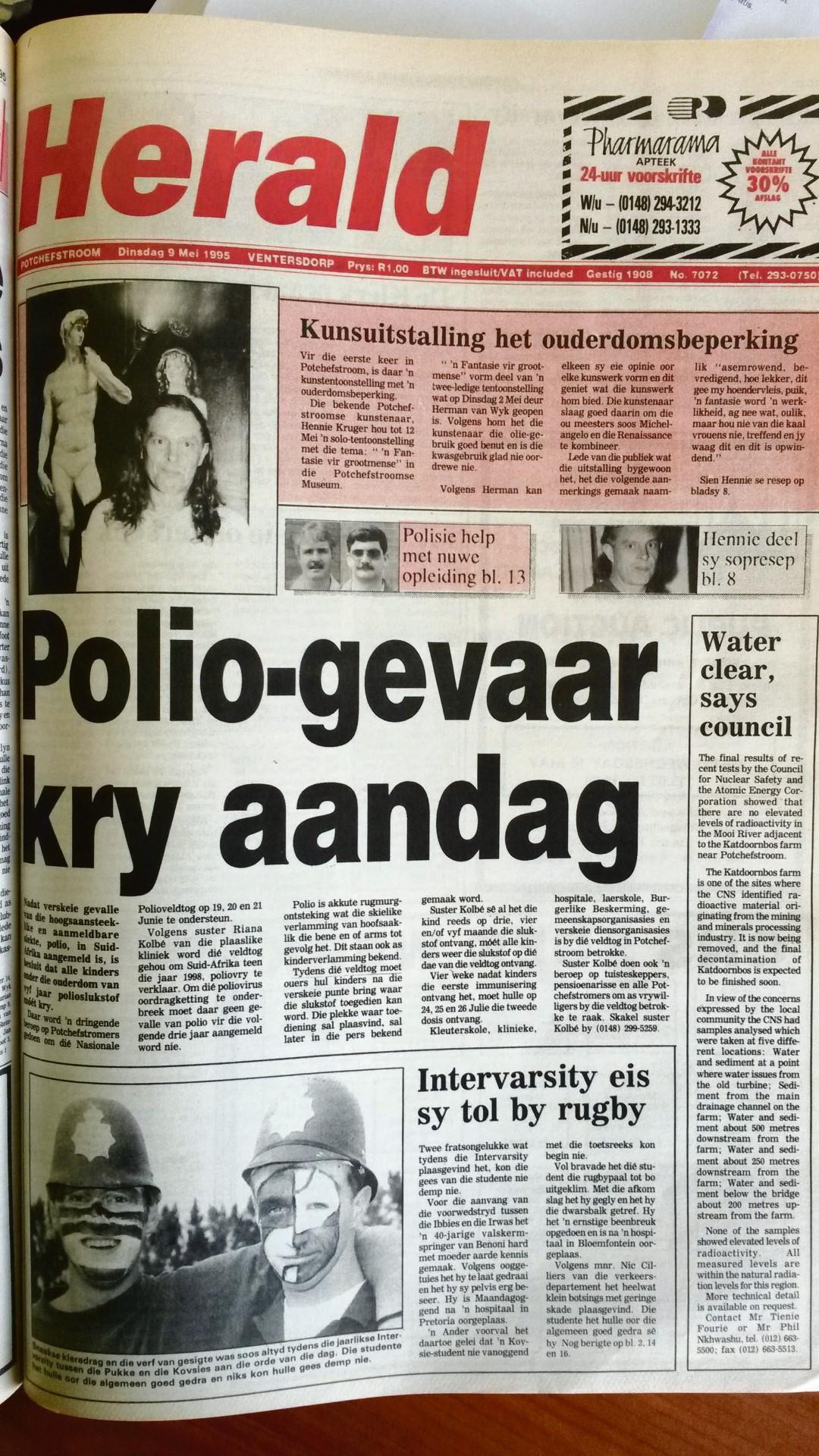20 jaar gelede, Die voorblad van 9 Mei 1995