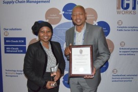 The mayor, Joey Mochela and the acting municipal manager Mr P. Tsekedi with the coveted clean administration award.