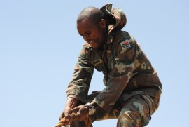 A soldier braves the obstacle course at last years Military Skills Competition. Photo: Marianke Saayman