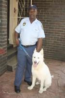 SAPS Potchefstroom K9 Unit's WO Joseph Nene stands with a German Shepherd, Whitey.