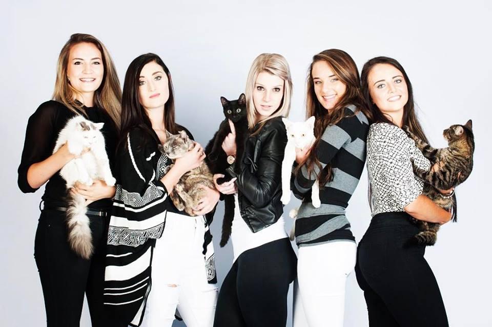 Die modelle met van PAWS se katjies tydens die fotosessie. Van links: Inecke Grobler, Thaila du Plessis, Micaela Sale, Natasha Ganho, Mari-Janna Mac en Gilli Cuddy..