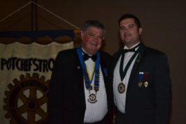 Rob Trautmann was inducted as the president of the Potchefstroom Rotary Club for the third time. One of his guests of honour was his son, Sean, who was inaugurated as the vice-president of Round Table Southern Africa just two months earlier.