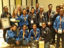 The team of 16 learners who represented the Dr Kenneth Kaunda District at the Eskom Young Scientist International Science Fair. Photo: Provided