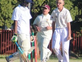 Ruan Lotz celebrates his wicket