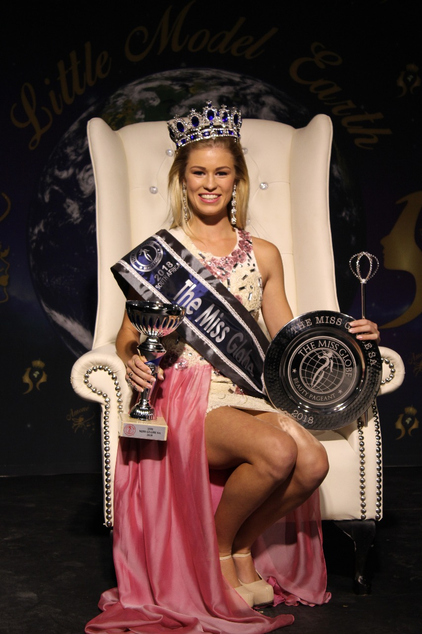 Anchané Pretorius is as die 2018 Miss Globe SA gekroon en gaan nou haar land in Albanië teen van die mooistes wêreldwyd verteenwoordig