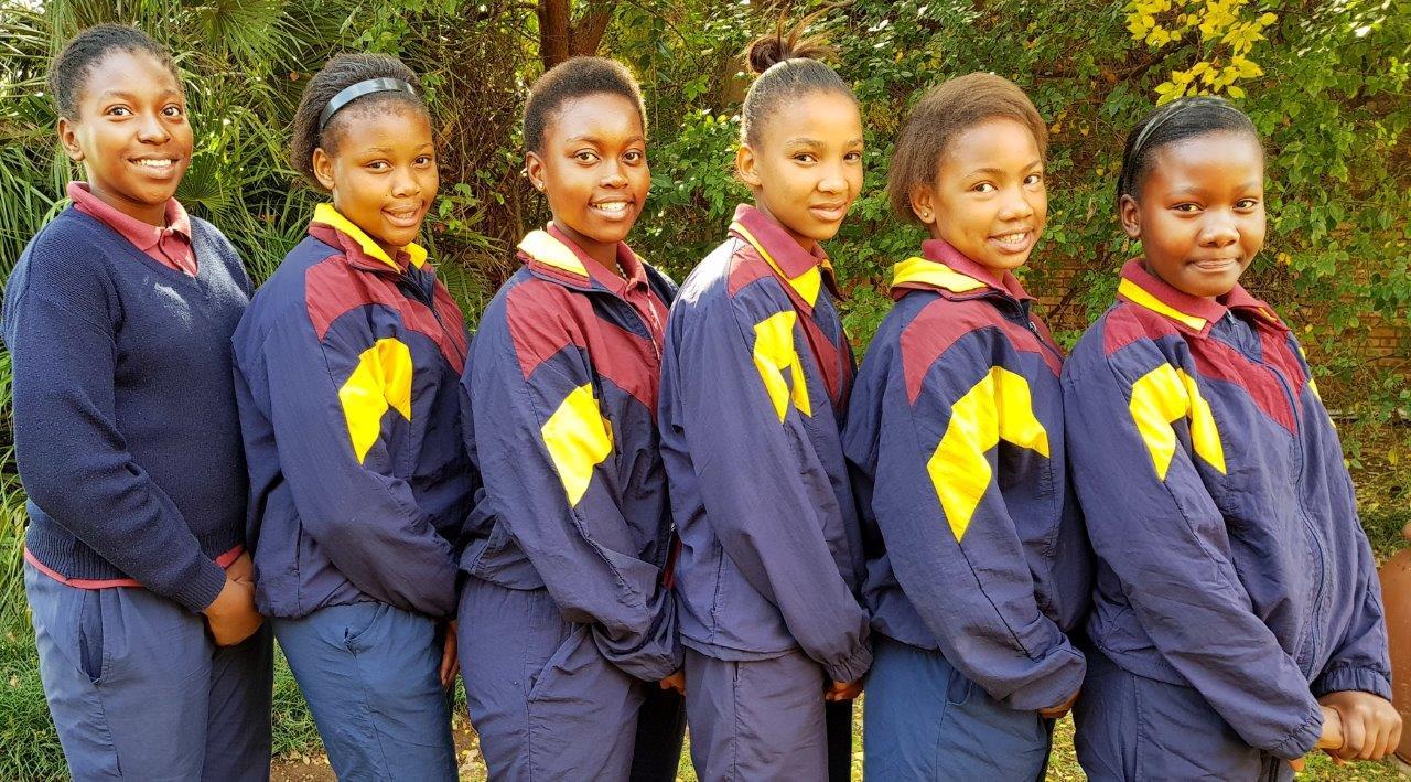 These girls from Saints' Christian School were selected to represent Potch District Netball teams from u.11 – u.13 age groups. Left to Right: Sandala Diallo (u.12), Regorapetse Matebesi (u.13), Keketso Kali (u.13), Tshegofatso Raphutshe (u.12), Nonceba Xheko (u.13) and Katlego Mokgosi (u.12).
