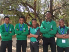 Mzwandile Seripe, Andile Seripe. Gofaone Makame, Tebogo Mokhele and Sibusiso Xhakalashe took home medals for their inventive projects at the 2018 Eskom Science Expo (Dr Kenneth Kaunda Region) event. Photo: Wouter Pienaar