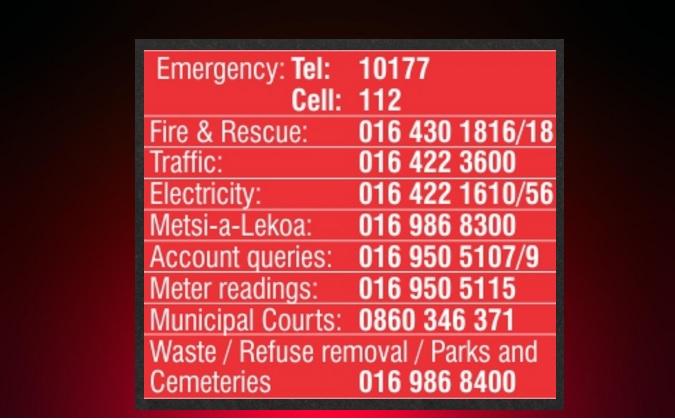 Rent A Truck >> Emfuleni Local Municipality's Emergency numbers | Sedibeng Ster