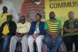 Seated from left to right, Obet Bapela, Dr Aaron Motsoaledi, Suzan Shabangu, and Maipato Tsokolibane.