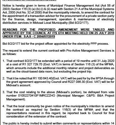 Midvaal Local Municipality  Public Notice  | Sedibeng Ster