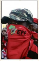The red sea Economic Freedom Fighters lead the student protest on Monday at VUT. Photo: Mduduzi Mathebula.