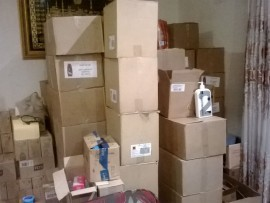 These are the boxes that were found at a house in Lenasia with different detergents inside.