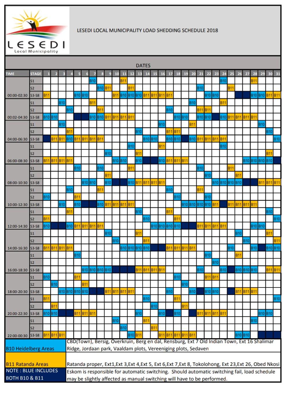 HEIDELBERG Load Shedding Schedule | Heidelberg Nigel Heraut