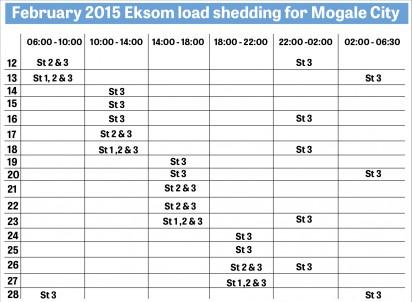 Updated load shedding schedule | Krugersdorp News