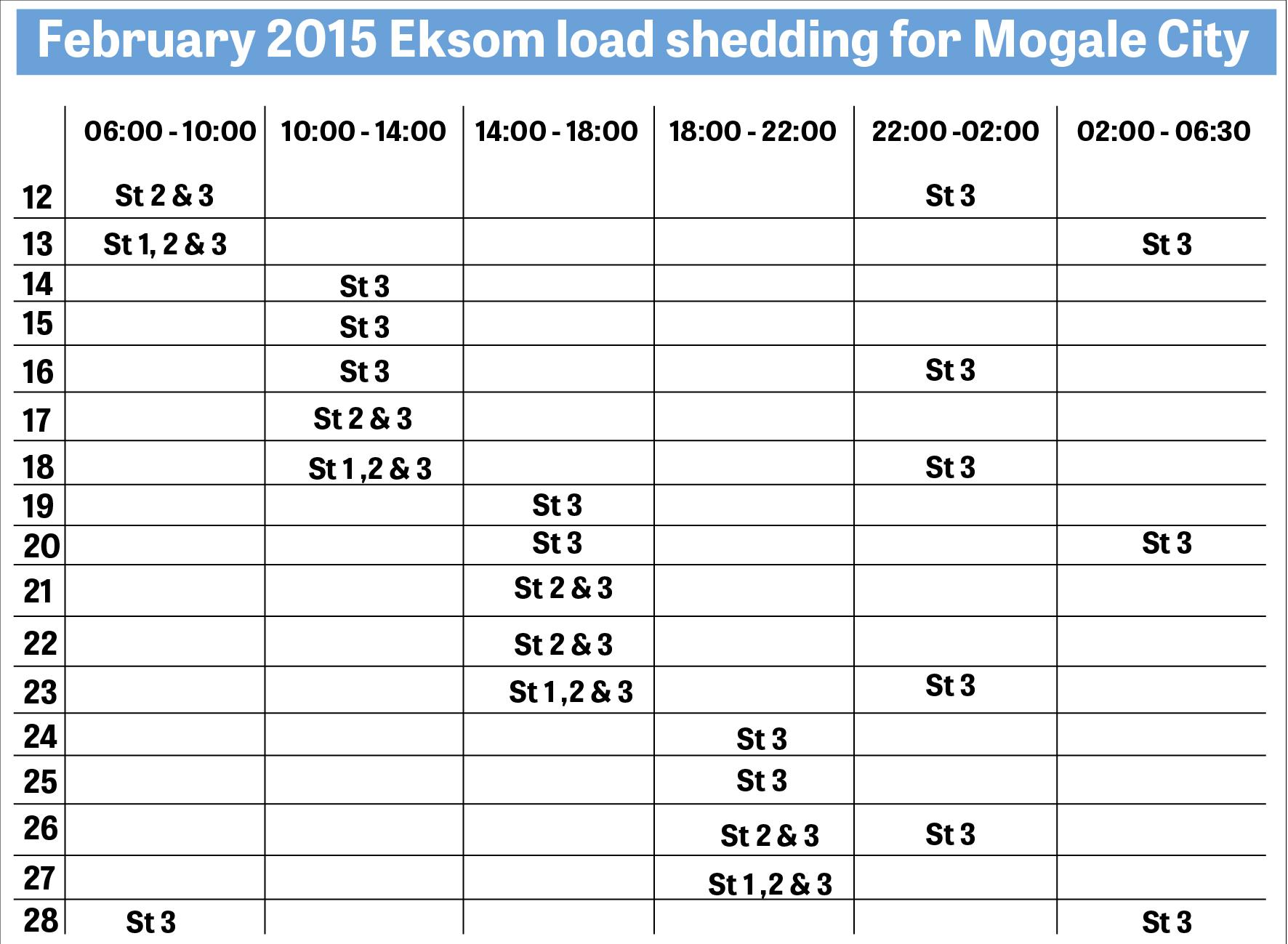 Load Shedding Schedule Eskom Wallpaper: Updated Load Shedding Schedule