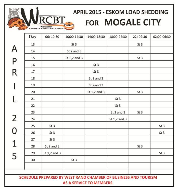 Load Shedding Schedule For Krugersdorp Krugersdorp News