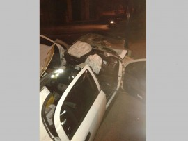 The Jaws of Life had to be used to free the driver from this wreck after the accident on Voortrekker Road.